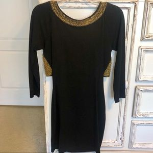 ASOS Black with gold Sequins dress